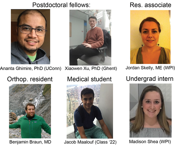 Ananta Ghimire PhD (UConn), Xiaowen Xu PhD (Ghent), Jodan Skelly ME (WPI), Benjamin Braun MD, Jacob Maalouf (Class '22), Madison Shea (WPI)